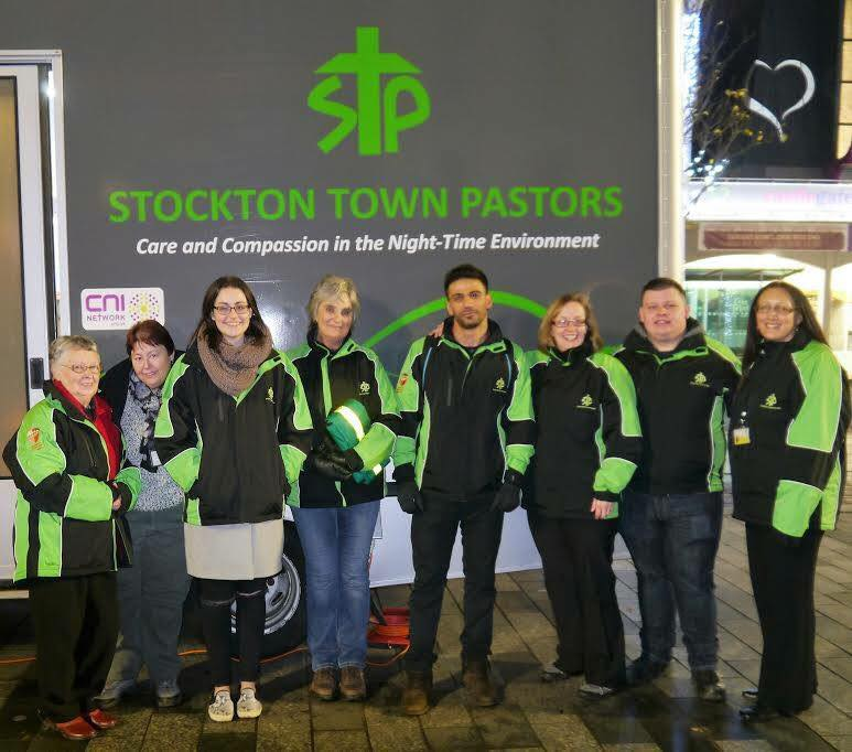A group of volunteers outside the Stockton Town Pastors van on Stockton High Street, December 2016